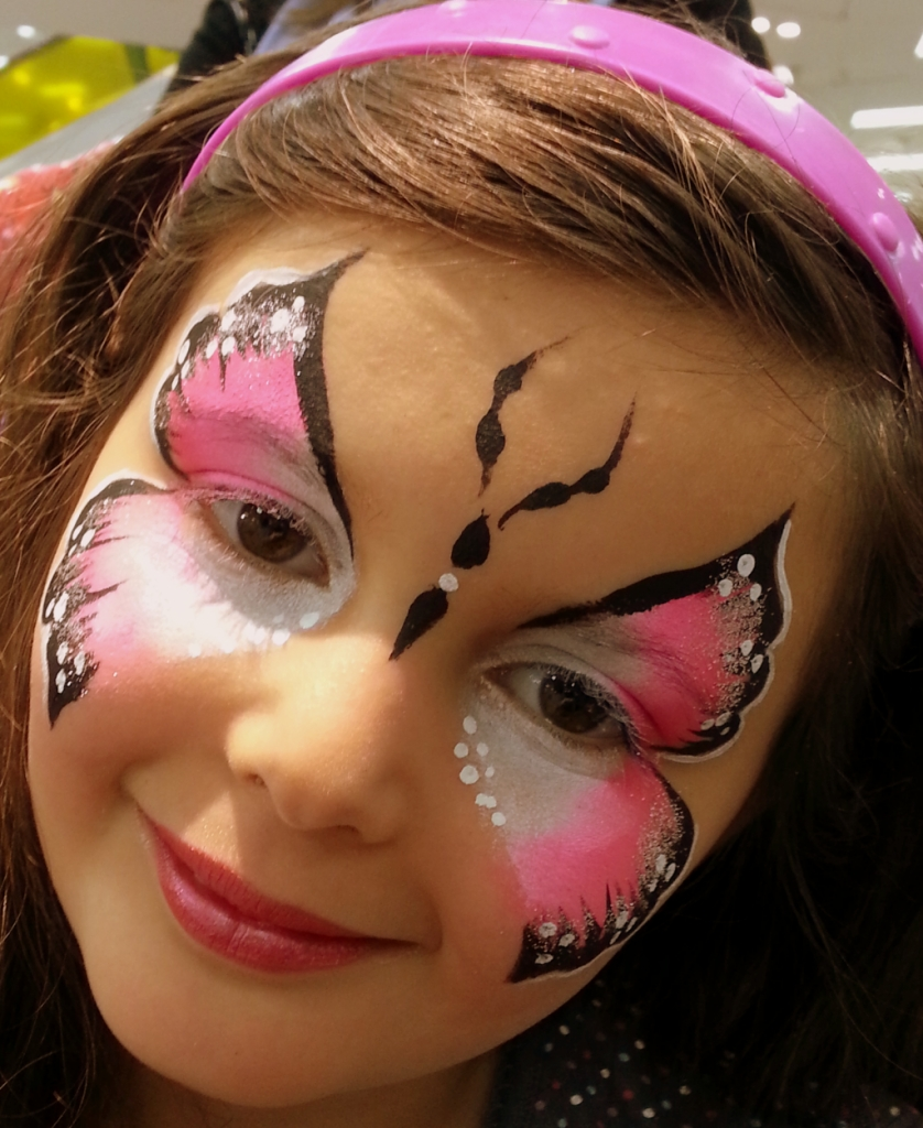 Pink and white pink and white buterfly for Face painting business